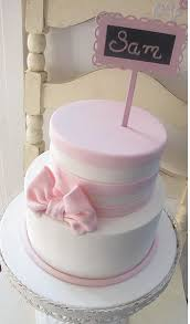 two tier pink and white birthday cake with pink bow and sign jpg