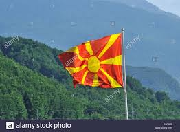 Macedonian Flag Macedonian Flag Galicnik Mavrovo Macedonia Stock Photo Royalty