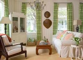 green printed silk curtain and comfortable white couch for shabby