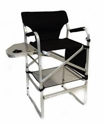 portable makeup chair with side table tall director chair w side table and cup holder