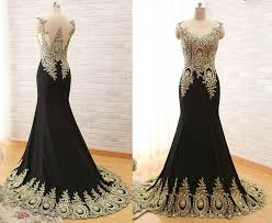 Black And Gold Lace Prom Dress Mermaid Illusion Neckline Black Satin Gold Lace Applique Evening