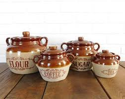 stoneware kitchen canisters vintage kitchen canisters etsy