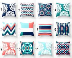 throw pillows pillow covers navy aqua coral teal pillow