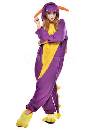 kigurumi pajama dinosaur onesie for fleece flannel purple