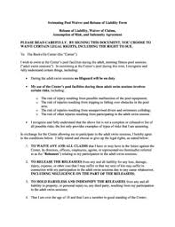fillable online swimming pool waiver and release of liability form