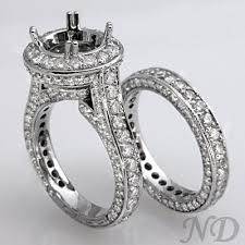 wedding rings setting images Diamond wedding ring set with 4 05 ct pave diamonds jpg