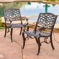 Christopher Knight Patio Furniture Reviews Sarasota Cast Aluminum Bronze Outdoor Chair Set Of 2 By