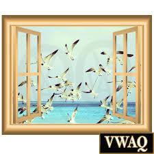stick on wall art flock of birds d window frame vinyl decal wall art ocean birds
