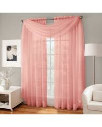 Sheer Coral Curtains New Shopping Special Crushed Voile Sheer Scarf Valance In Coral
