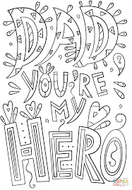 dad you are my hero doodle coloring page free printable coloring