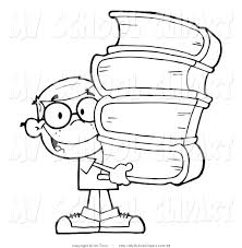 clip art of a coloring page of a smart boy carrying a stack