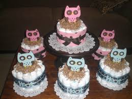hoot owl mini diaper cakes baby shower centerpieces in pink