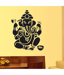 stickerskart lord ganesha design in black wall decor black buy
