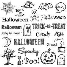 halloween hand drawn text lettering and graphics royalty free