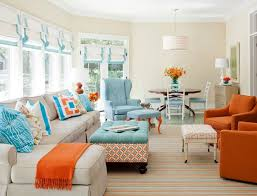 orange livingroom brilliant blue and orange living room also home decoration for