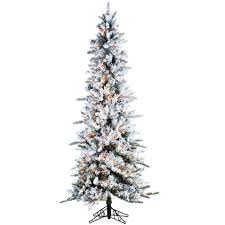 sterling 7 5 ft pre lit flocked narrow pine artificial