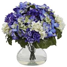 Silk Flower Arrangements Nearly Natural Hydrangea With Large Vase In Blue Purple