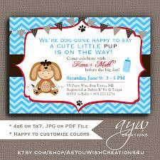 dog baby shower invitation boy dog invitation chevron baby