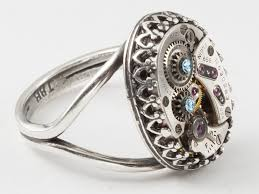 steunk engagement ring steunk ring with elgin movement and gears filigree and