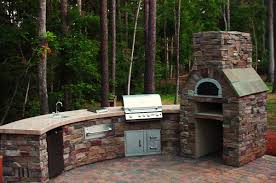 popular bbq grill beige ceramic tile counter stone outdoor pizza
