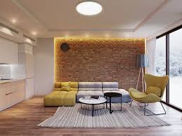 chic living rooms with exposed brick walls virily
