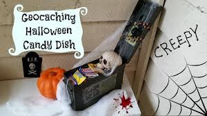 a geocaching halloween candy dish cache dad