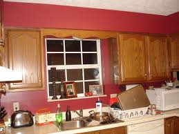 kitchen red colors with brick cabinets walls and yellow eiforces