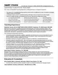 Resume For Teachers Sample by Sample Teacher Resumes Substitute Teacher Resume Resumes