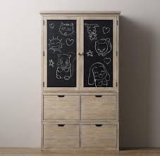 Restoration Hardware Armoire Storage Chalkboard Sandwashed Grey Armoire Set