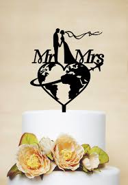 themed wedding cake toppers travel themed wedding cake topper custom cake toppermr mrs