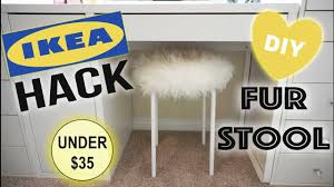 Marius Stool Ikea by Diy Faux Fur Vanity Stool Ikea Hack Youtube