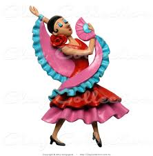 clay illustration of a 3d gorgeous female flamenco dancer with a