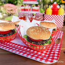 Bbq Party Decorations Outdoor Bbq Burger Serving Idea Gingham Picnic Food And Drink