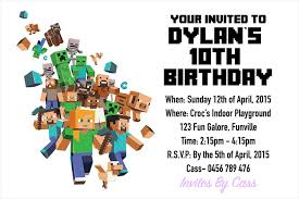 minecraft birthday invitations minecraft kids birthday party invitations invites by cass madeit