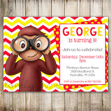 curious george chevron birthday 1st birthday invitation 2nd