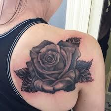 soft black u0026 grey rose and petals tattoo by sara eve tattoonow