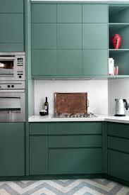 colour kitchen ideas teal green cupboards zigzag flooring coloured kitchen design