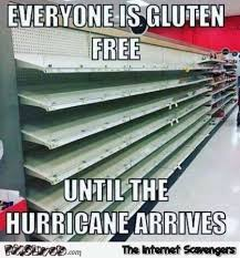 Free Funny Memes - everyone is gluten free until the hurricane arrives funny meme