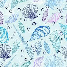 sea shell seamless pattern beautiful illustration royalty free