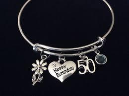 birthday charm bracelet birthstone happy 50th birthday expandable silver charm bracelet