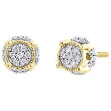 mens studs 10k yellow gold real diamond 4 prong 3d circle halo earring mens