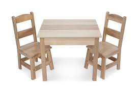melissa doug wooden table and 2 chairs set light finish furniture for playroom co uk toys