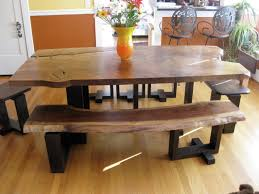 How To Make A Dining Room Table by Dining Room Table Bench Distressed Wood Table Bench Metal Legs