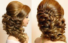 bridal hairstyle with braid and curls hair tutorial youtube