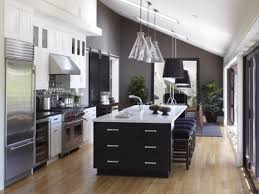 large one wall kitchen with large kitchen island with seating and