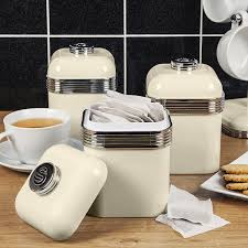 swan retro storage canisters cream set of 3 amazon co uk