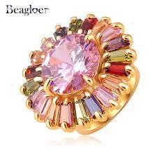 aliexpress buy beagloer new arrival ring gold beagloer big sale trendy big flower ring gold color ring