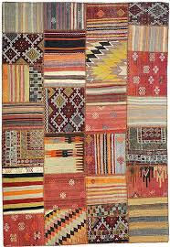 Kilim Area Rug Patchwork Area Rugs Rectangle Orange Zigzag Stripe Pattern