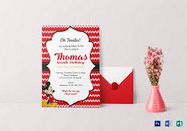 editable mickey mouse birthday invitation card design template in