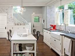 Kitchen Island And Dining Table by Eye Catching White Dining Table With Four Dark Chairs Near